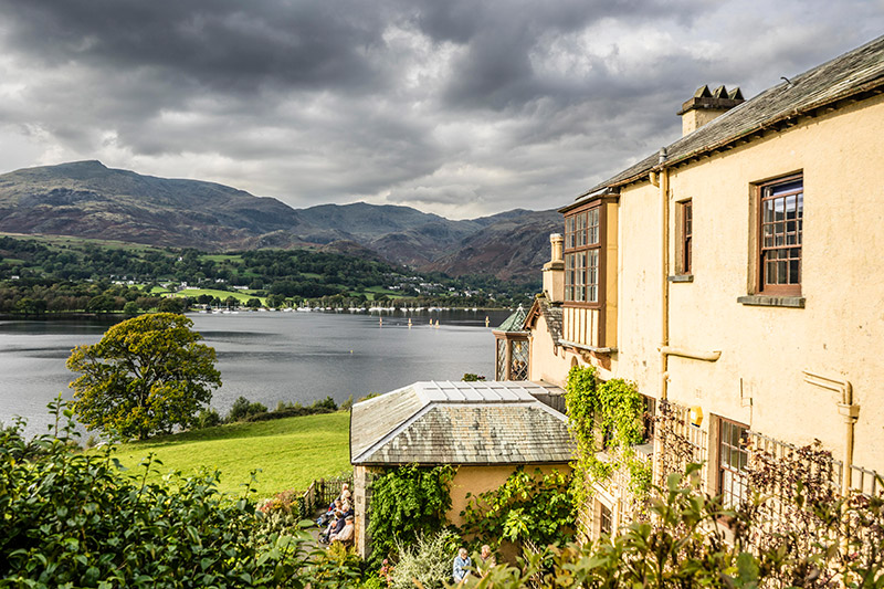 Brantwood house with view over Coniston Water%