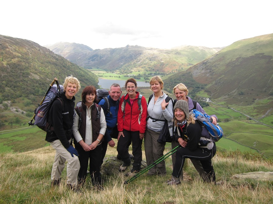 Lake District volunteer Tricia Brown doing what she enjoys most, leading a guided walk in the Ullswater valley