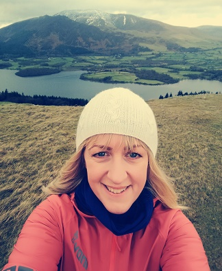 Selfie of Woman on her run in the Lake District fells.