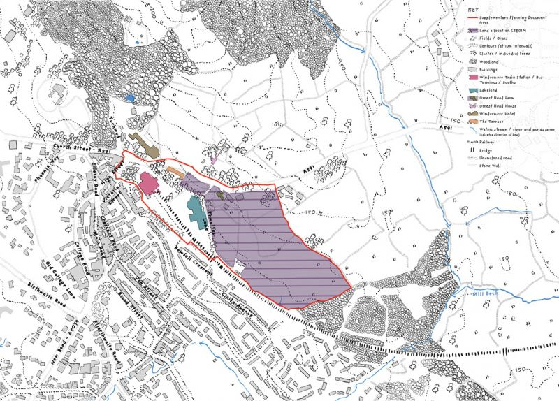 Map showing the site location of Windermere Gateway