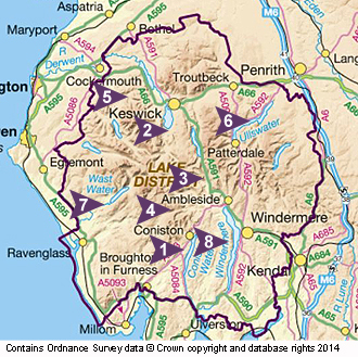 Beginners taster map of the Lake District