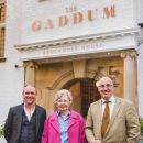 Photo shows left: LDNP Chief Executive, Richard Leafe middle: Hilda Gaddum right: Brockhole Manager, Sam Mason in front of the Brockhole House for The Gaddum restaurant open evening on Thursday 27 April 2018.