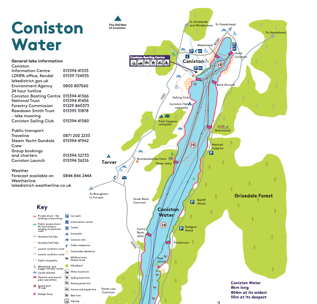 Map of Coniston Water