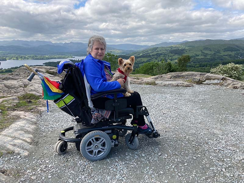 Jane Brassington at Orrest Head summit in an all-terrain wheelchair.