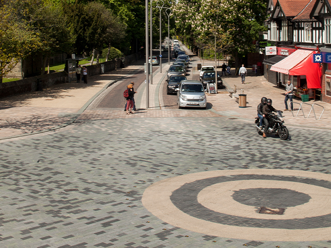 Close up of stone laid roundabout