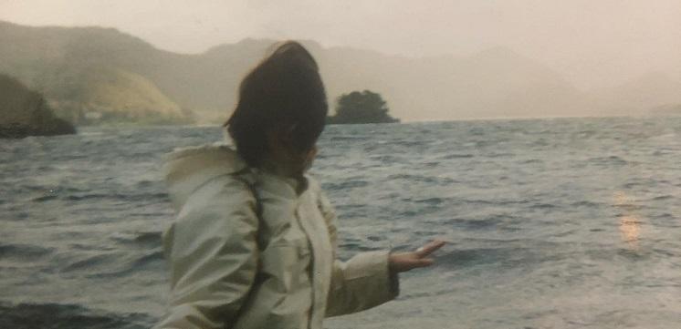 Kaye by a lake.