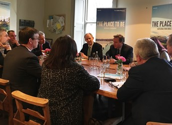 Members of the Lake District business community meet Prime Minister David Cameron to discuss a new funding package for tourism, announced today, 28 Jan 2015, at Allan Bank, Grasmere.