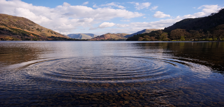 Ripples on Lake Windermere on a sunny day