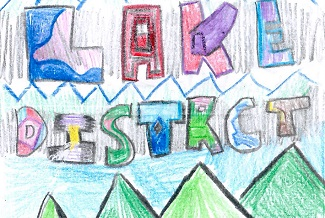 Drawing of the words 'Lake District'