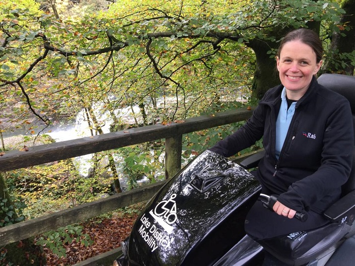 Lake District Mobility's Julia Walker at the Skelwith Force Miles without Stiles route