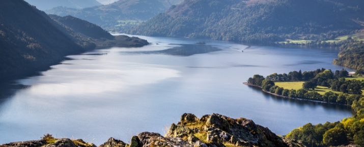 View over a stunning Ullswater in the Lake District
