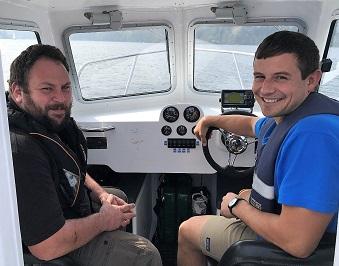 Lake Rangers on Windermere in the patrol boat.