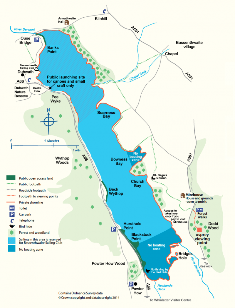 Map of Bassenthwaite map showing activity zones