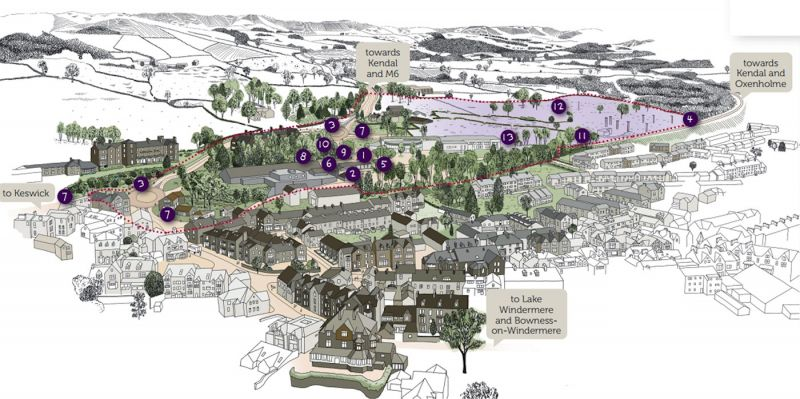 Illustrative map of Windermere with the 13 areas for planned improvements.