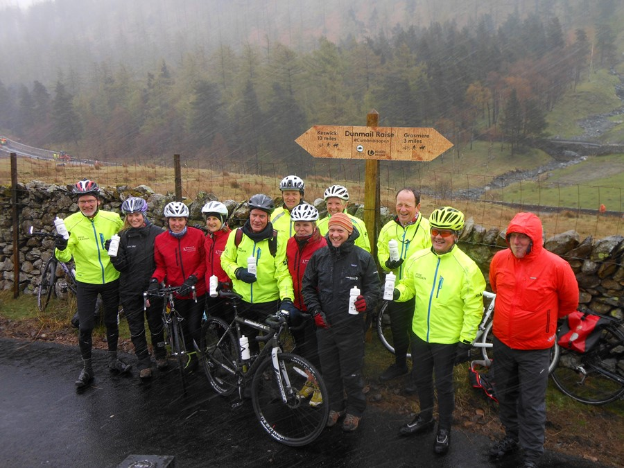 Chief Executive of Lake District National Park, Richard Leafe (foreground) with British Cycling ride leaders who cycled over from Thirlmere and Grasmere to meet at the summit of the new Dunmail Raise multi-user trail.