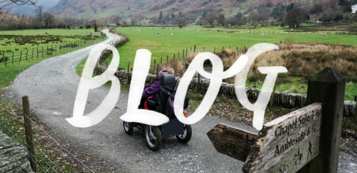 Lake District Mobility's KAren Smith on miles without stiles route at Dungeon Gyhll