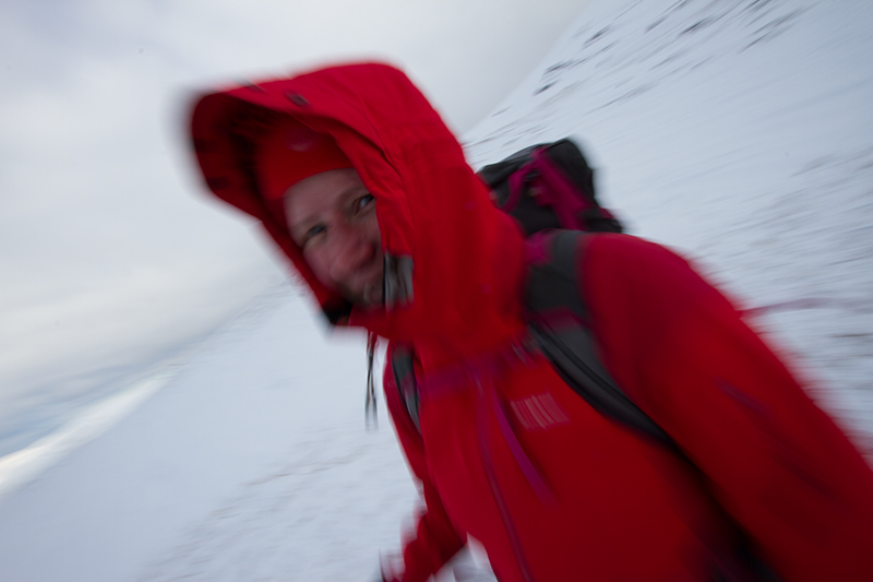 Beth Pipe walking in the snow on a Lake District fell.
