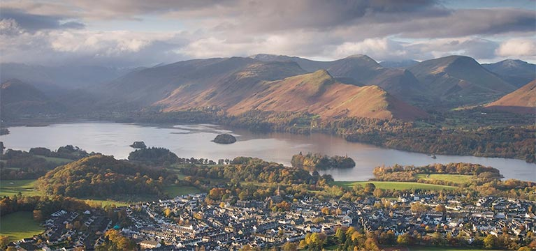 Looking down at the town of Keswick on the edge of Derwentwater