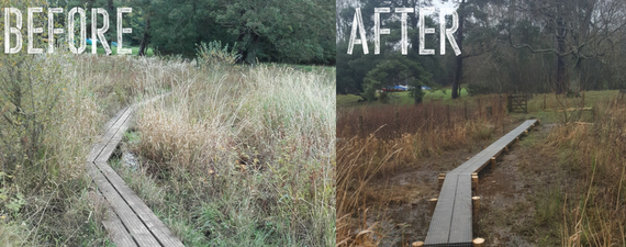 Before and after of wooden boardwalk at Scarness