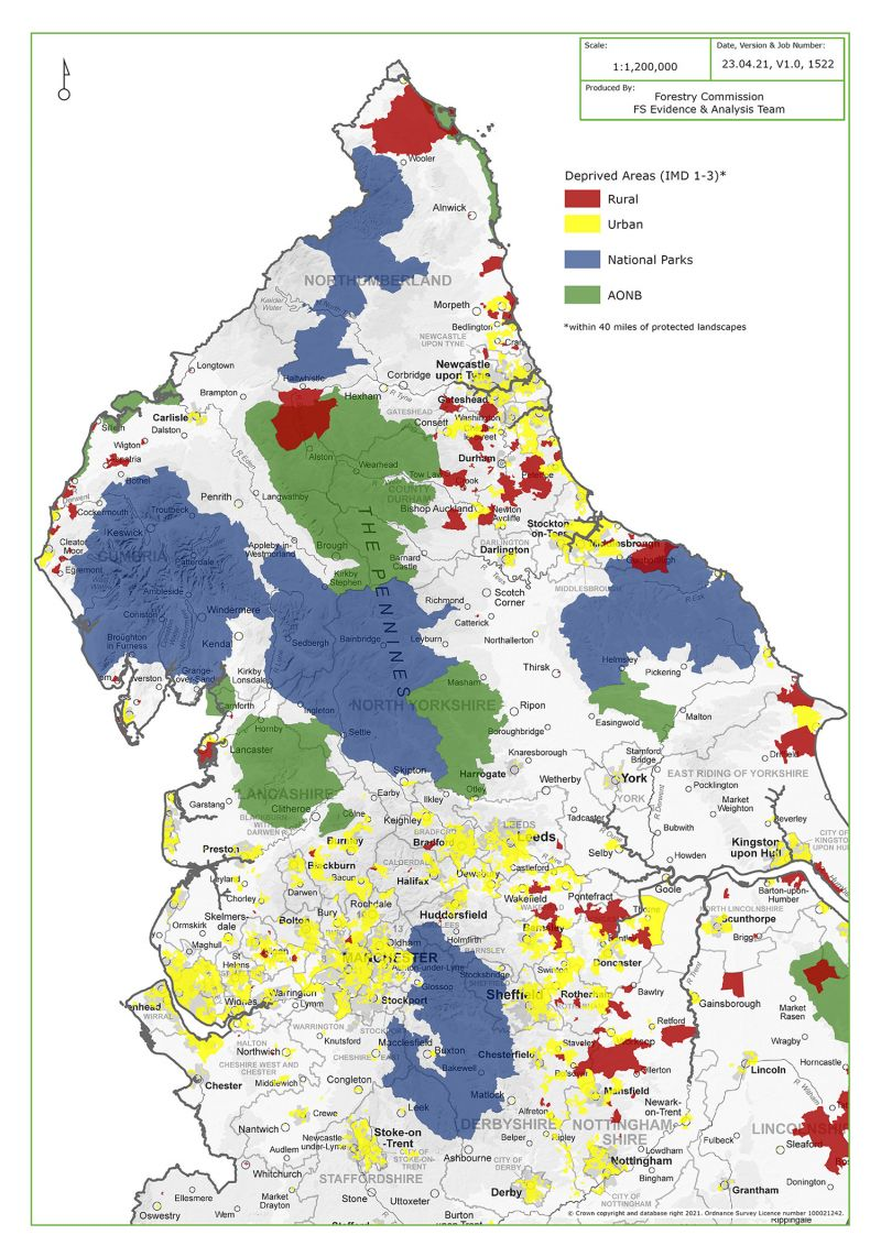 Deprivation within 40 miles of AONB and National Park areas in North England