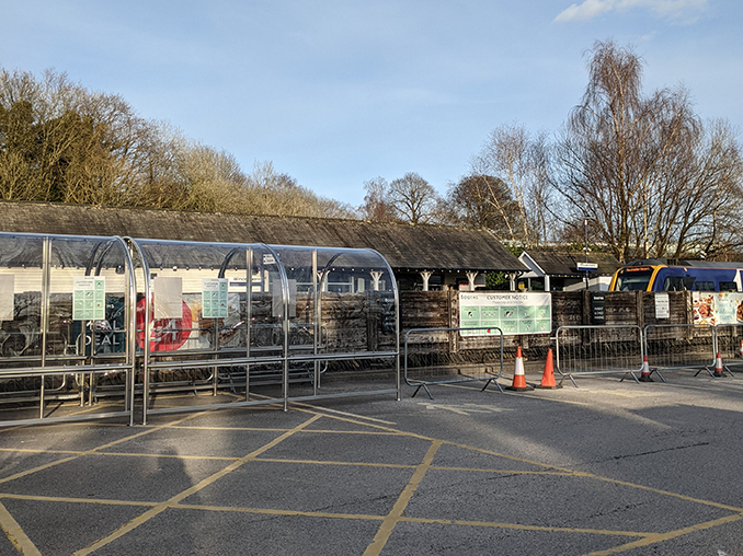 Booths supermarket car park looking towards the railway.