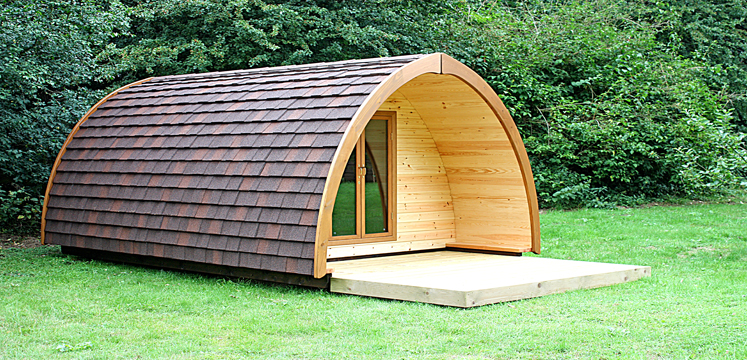 A lovely wooden camping pod
