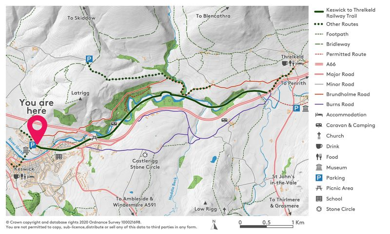 Map showing the Keswick to Threlkeld Trail