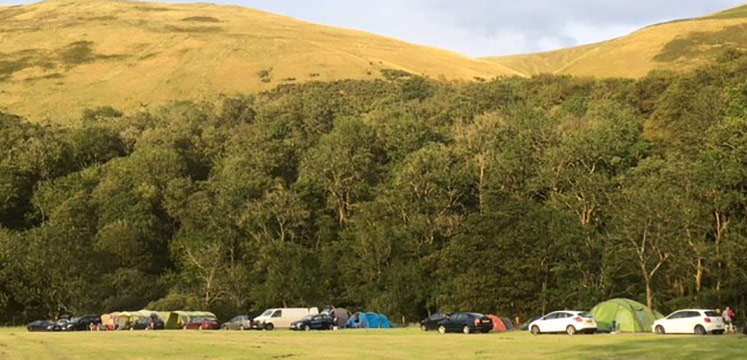 Campsite on a farmers field in the Lake District
