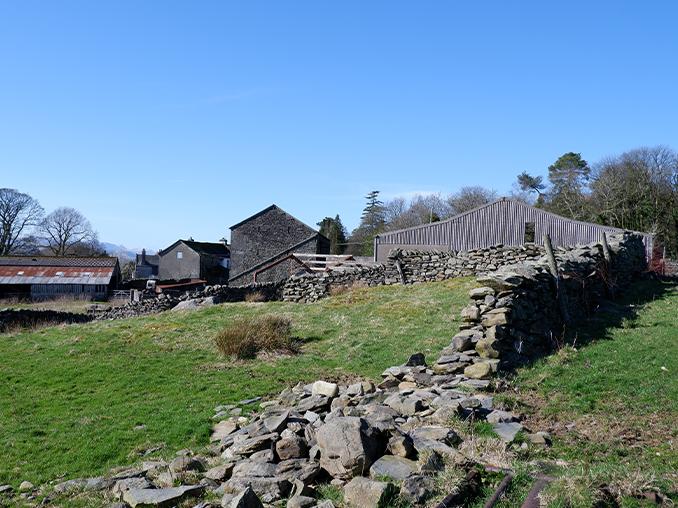 A damaged traditional dry stone wall on a farm.