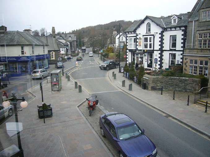 Aerial view over Windermere High Street.