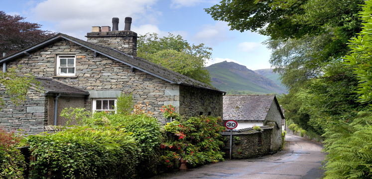 The village of Grasmere on a sunny summers day