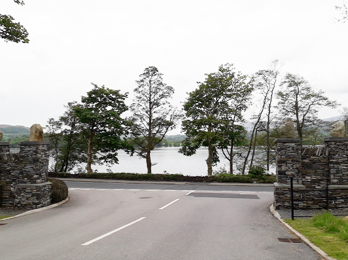 View from hotel entrance across road to Lake Windermere.