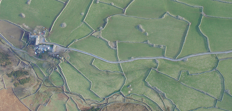 Aerial view of fields in Wasdale copyright Cumbria Soaring Club