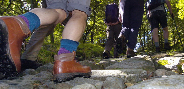 Close up of boots on walk in Borrowdale copyright Charlie Hedley