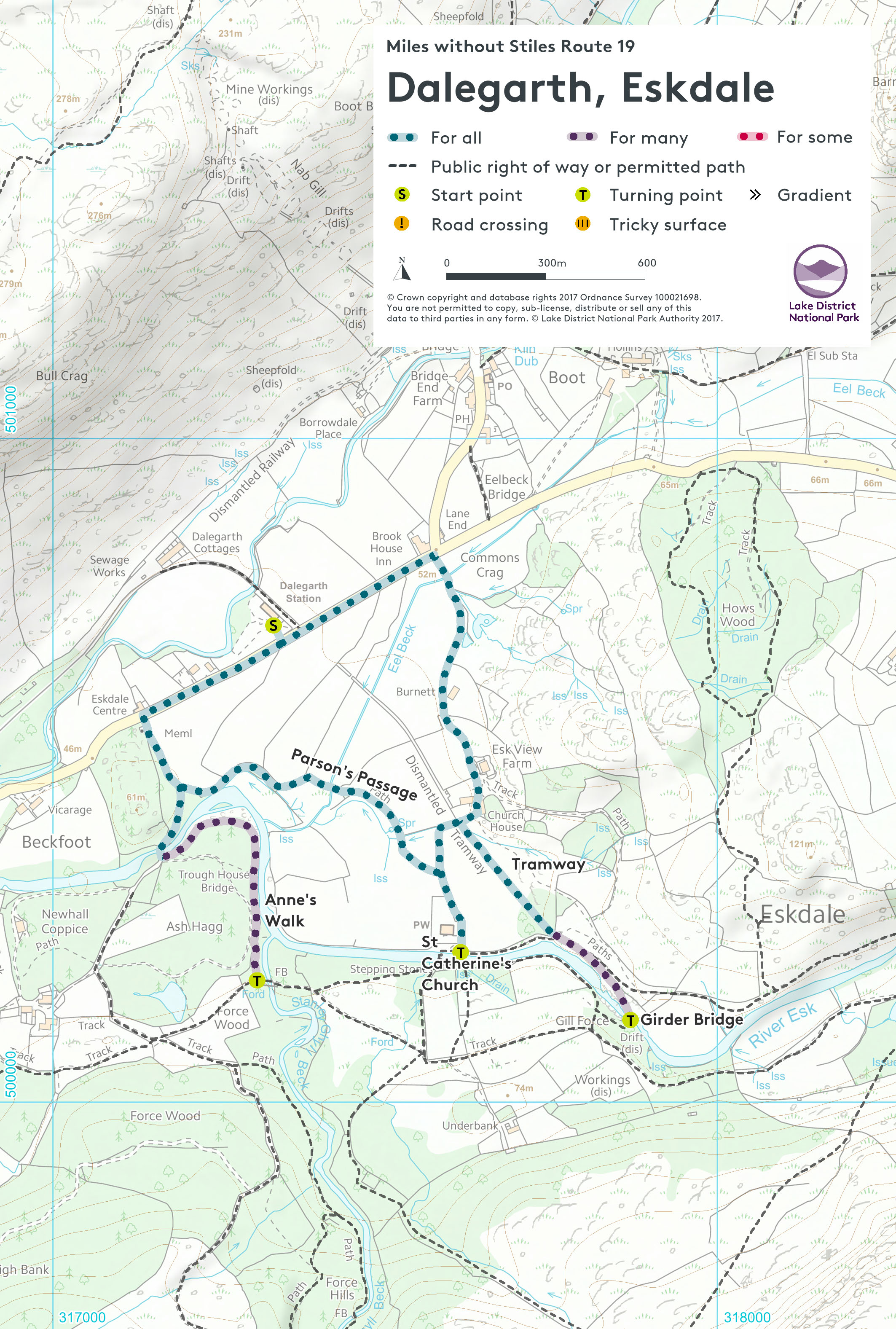 Map - Dalegarth to St Catherien's Church, Eskdale route